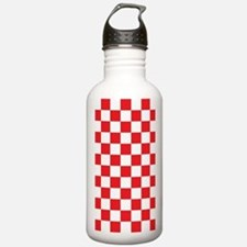 RED AND WHITE Checkered Pattern Water Bottle