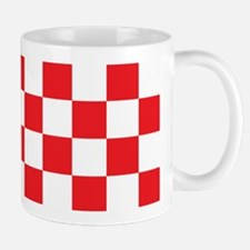 RED AND WHITE Checkered Pattern Mugs