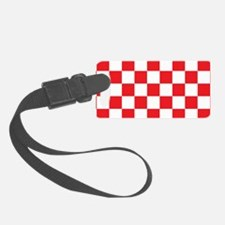 RED AND WHITE Checkered Pattern Luggage Tag