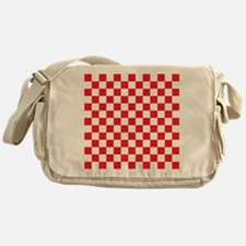 RED AND WHITE Checkered Pattern Messenger Bag