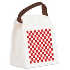 RED AND WHITE Checkered Pattern Canvas Lunch Bag