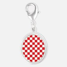 RED AND WHITE Checkered Pattern Charms