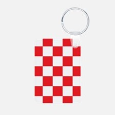 RED AND WHITE Checkered Pattern Keychains