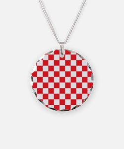 RED AND WHITE Checkered Pattern Necklace