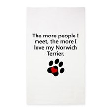 The More I Love My Norwich Terrier 3'x5' Area Rug