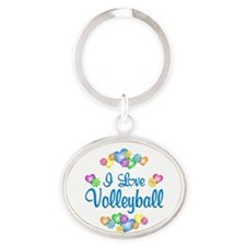 I Love Volleyball Oval Keychain