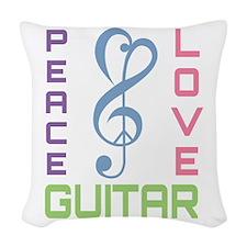 Peace Love Guitar Woven Throw Pillow