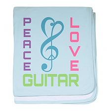 Peace Love Guitar baby blanket