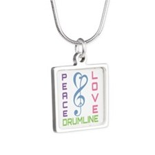 Peace Love Drumline Silver Square Necklace