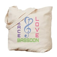 Peace Love Bassoon Tote Bag
