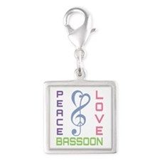 Peace Love Bassoon Silver Square Charm