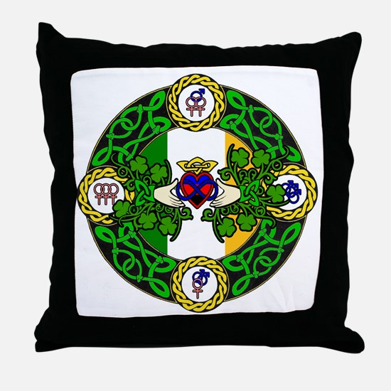 Poly Claddagh Brooch Throw Pillow