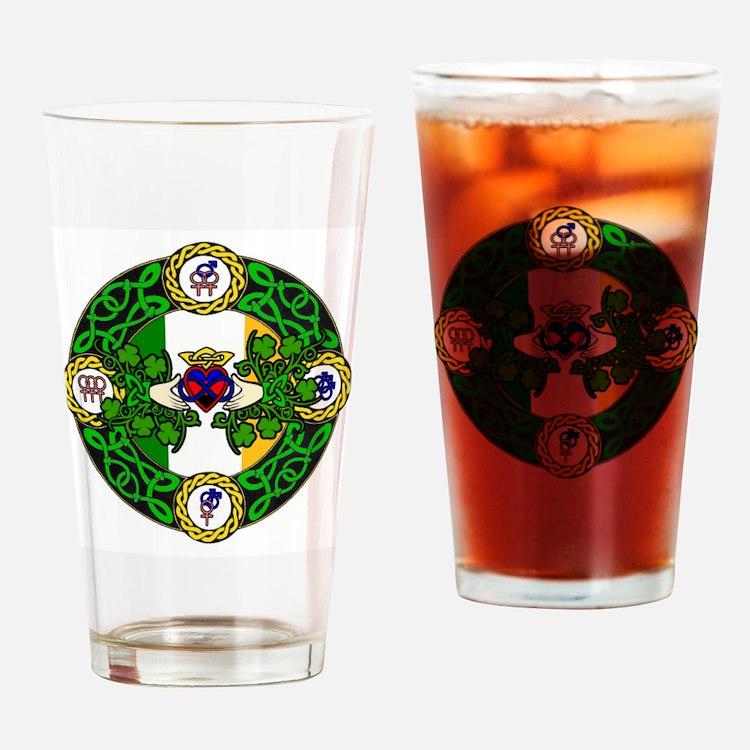 Poly Claddagh Brooch Drinking Glass