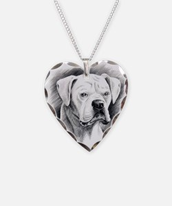 Beautiful White Boxer Necklace Heart Charm