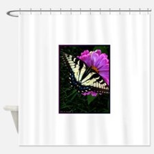 Swallowtail Butterfly and Zinnia Shower Curtain