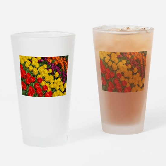 Colorful spring tulips in rows Drinking Glass