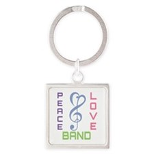 Peace Love Band Square Keychain