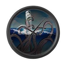 Kraken Attacks Ship at Sea Large Wall Clock