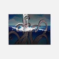 Kraken Attacks Ship at Sea 5'x7'Area Rug