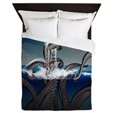 Kraken Attacks Ship at Sea Queen Duvet