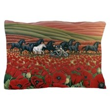 Poppy Fields Bikers and Wild Horses Painting Pillo