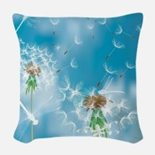 Dandelions and Dragonflies Woven Throw Pillow