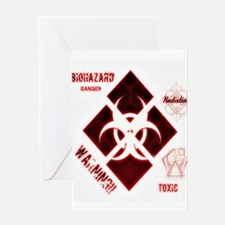 Biohazard red Greeting Cards