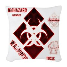 Biohazard Red Woven Throw Pillow