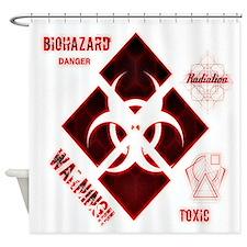 Biohazard red Shower Curtain
