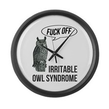 Irritable Owl Syndrome Large Wall Clock