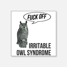 "Irritable Owl Syndrome Square Sticker 3"" x 3"""