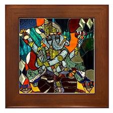 Stained Glass Ganesh Framed Tile
