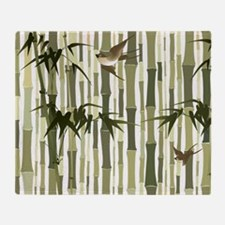 Bamboo and Birds Throw Blanket