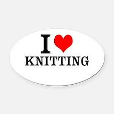 I Love Knitting Oval Car Magnet
