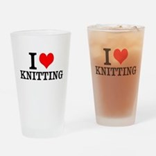 I Love Knitting Drinking Glass