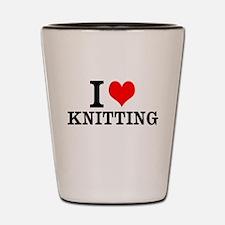 I Love Knitting Shot Glass