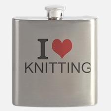 I Love Knitting Flask