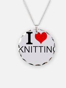 I Love Knitting Necklace