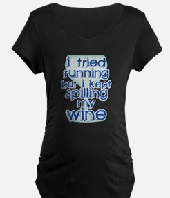 Lazy Wine Drinking Humor Maternity T-Shirt