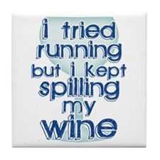 Lazy Wine Drinking Humor Tile Coaster