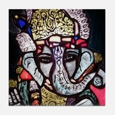 Painted stained glass Ganesh Tile Coaster