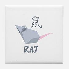 Chinese Rat Symbol Tile Coaster