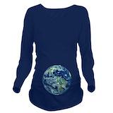 Earth Dark Long Sleeve Maternity T-Shirt