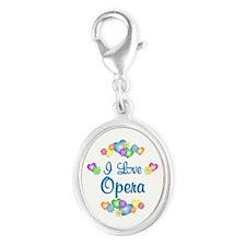 I Love Opera Silver Oval Charm