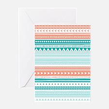 Coral Teal Tribal Vintage Stripes Greeting Card