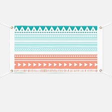 Coral Teal Tribal Vintage Stripes Banner