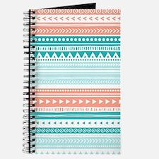 Coral Teal Tribal Vintage Stripes Journal