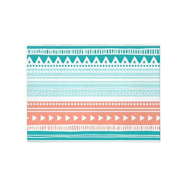 Coral Teal Tribal Vintage Stripes 5'x7'Area Rug By