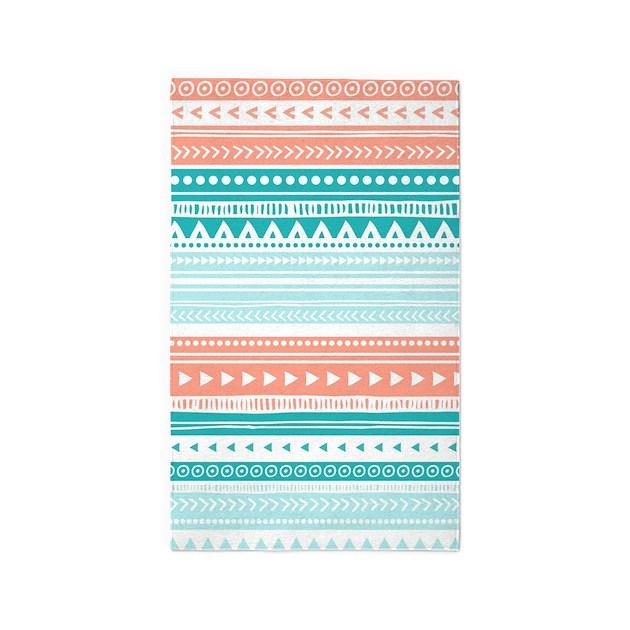 Coral Teal Tribal Vintage Stripes 3'x5' Area Rug By