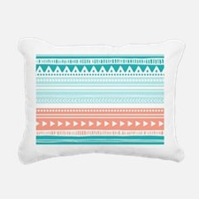 Coral Teal Tribal Vintag Rectangular Canvas Pillow